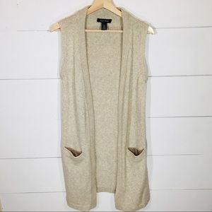 WHBM Alpaca Wool Blend Open Front Long Cardigan S